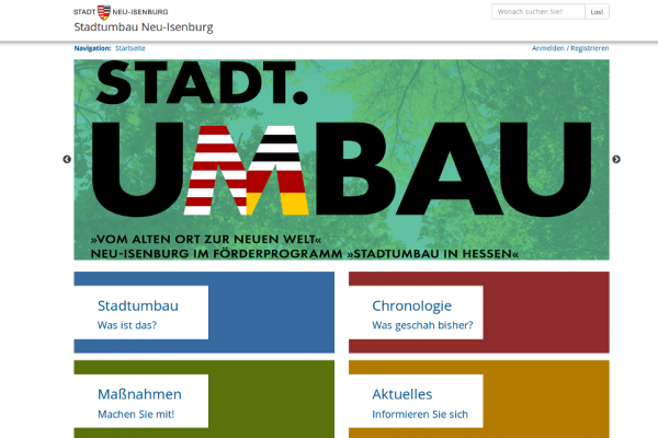 Screenshot der Online-Plattform zum Stadtumbau in Neu-Isenburg