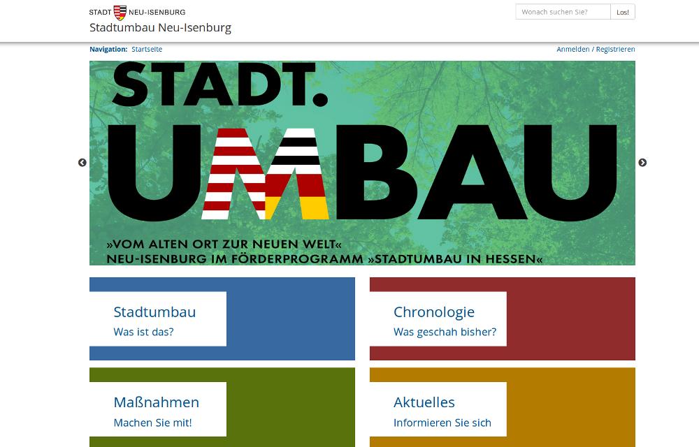 Screenshot der Online-Plattform zum Stadtumbau in Neu-Isenburg