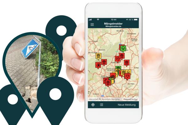 Smartphone mit neuer Mängelmelder-App
