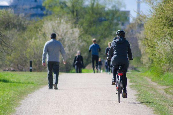 Radfahrer im Park