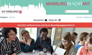 Screenshot der Beteiligungsplattform marburgmachtmit.de