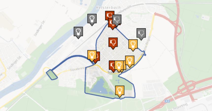 Ideenkarte auf der Online-Plattform klimainsel.kelsterbach.de