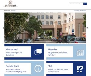 Screenshot der Beteiligungs-Plattform hafentor.hanau.de