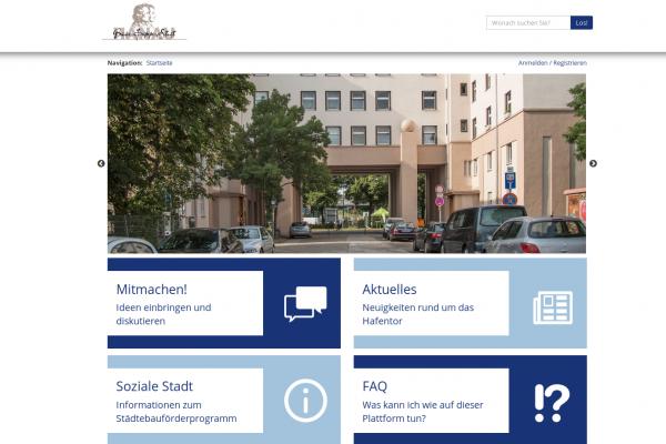 Screenshot der Online-Plattform hafentor.hanau.de