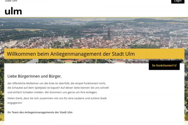 Ansicht vom Anliegenmanagement Mängelmelder Ulm