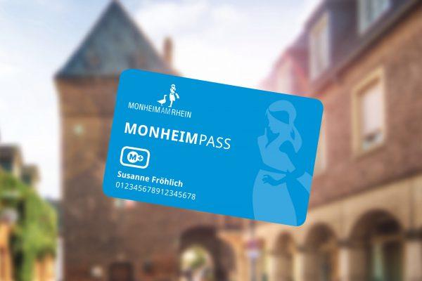 Abbildung vom Monheim-Pass. Er bietet u.a. kostenlosen ÖPNV und bequeme Nutzung der Bürgerbeteiligungsangebote in Monheim.