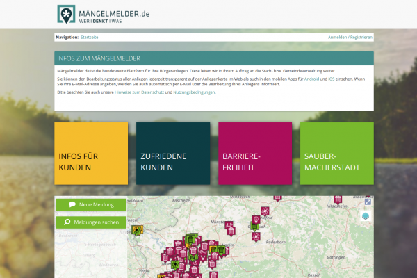 Screenshot der neu gestalteten Website mängelmelder.de. Das Portal wird seit Jahren erfolgreich von Bürgern und Kommunen für das Anliegenmanagement genutzt.