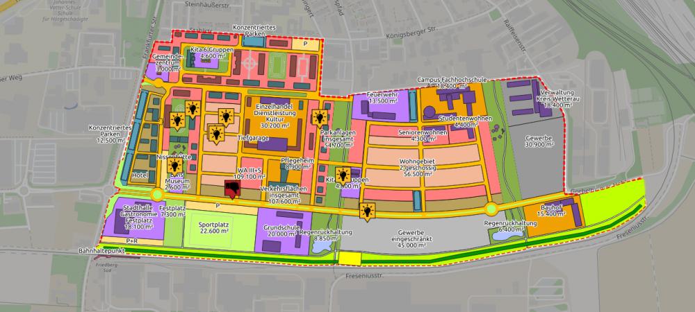 """Ansicht der interaktiven Karte für die Umgestaltung der """"Ray Barracks"""". Das ehemalige Kasernengelände soll zu einem lebendigen Stadtquartier umgestaltet werden."""