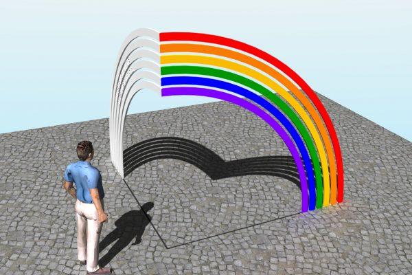 """Entwurf """"Die Schattenseite des Regenbogens"""" von Matthias Braun. So soll das Mahnmal für die Opfer des §175 in Darmstadt umgesetzt werden."""