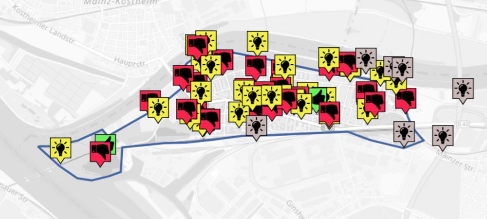 Ideenkarte der Online-Beteiligung in Gustavsburg. Die Online-Beteiligung findet in Kooperation mit der wer denkt was GmbH statt.