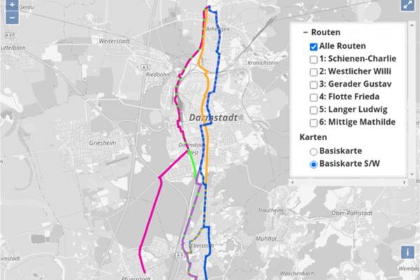 Screenshot der interaktiven Karte mit den ROutenvorschlägen für eine Radschnellverbindung durch Darmstadt. Dazu läuft bis 16. September 2020 eine Online-Beteiligung auf der Beteiligungsplattform der Stadt Darmstadt.
