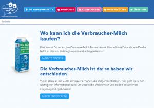 """Mit dem Store-Finder kann man schnell herausfinden, wo die Verbraucher-Milch von """"Du bist hier der Chef!"""" gekauft werden kann. Der Store-Finder ist auf der Website der Initiative """"Du bist hier der Chef!"""" zu finden und wurde von der wer denkt was GmbH entwickelt."""