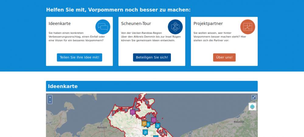 """Screenshot der Online-Plattform vorpommernbessermachen.de. Die Online-Beteiligung für das Projekt """"Vorpommern besser machen"""" wird in Zusammenarbeit mit der wer denkt was GmbH durchgeführt."""