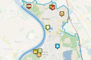 Anliegenkarte von Monheim am Rhein. Hier können die Bürgerinnen und Bürger im Rahmen der Online-Beteiligung zum Haushalt 2021 ihre Ideen verorten.