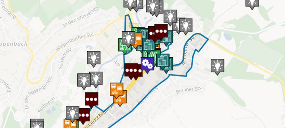 Anliegenkarte der Gemeinde Ortenberg im Oberen Niddertal. Auf dieser Karte konnten im Rahmen einer Online-Beteiligung zur Zukunft des Oberen Niddertals Ideen für Gemeinde und Region eingetragen werden.