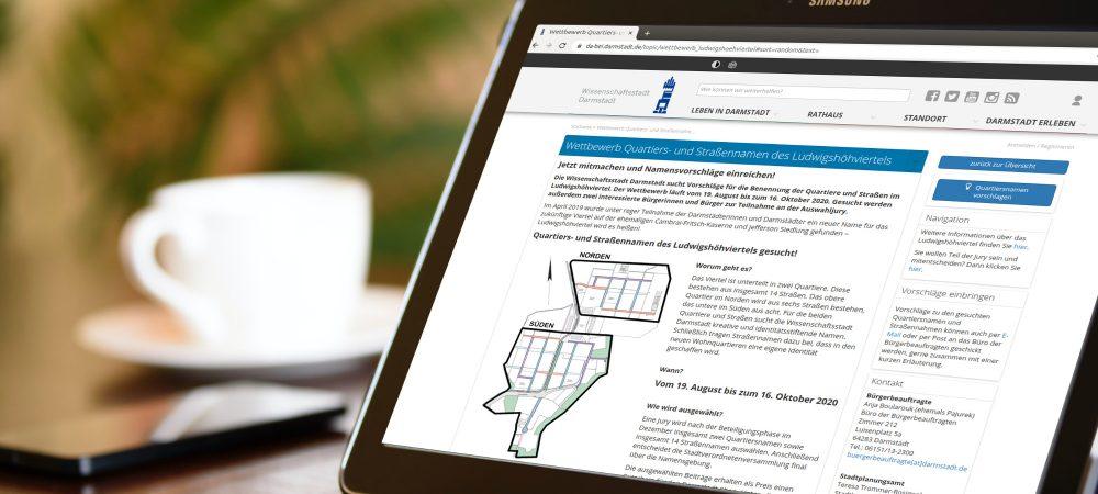 Zum neu entstehenden Ludwigshöhviertel in Darmstadt findet bis 16.10.2020 eine Online-Beteiligung statt. Die Bürger können dabei Namensvorschläge für Straßen und Quartiere abgeben.