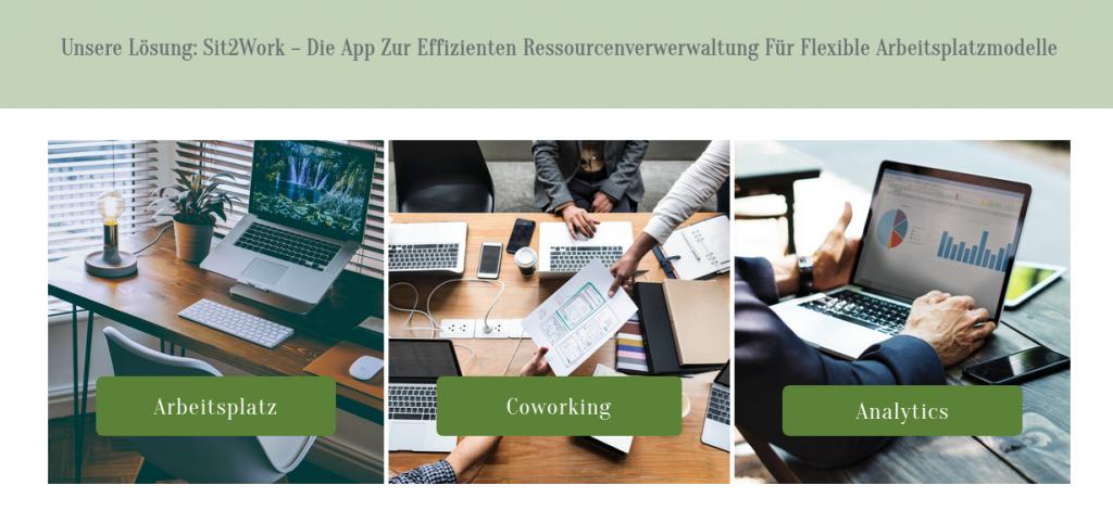 Screenshot von sit2work. Diese Plattform und App wurde mit Unterstützung der wer denkt was GmbH entwickelt. Diese Buchungsplattform unterstützt bei der digitalen Zuteilung von Arbeitsplätzen und Büroressourcen.