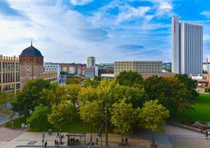 Stadtansicht von Chemnitz. In der sächsischen Stadt fanden Im Sommer 2020 Befragungen zu den stadtteilbezogenen Bürgerplattformen statt.