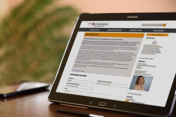 Beispielbild der Webseite