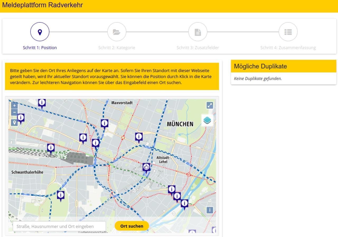 Einstieg Radverkehrsmelder in München
